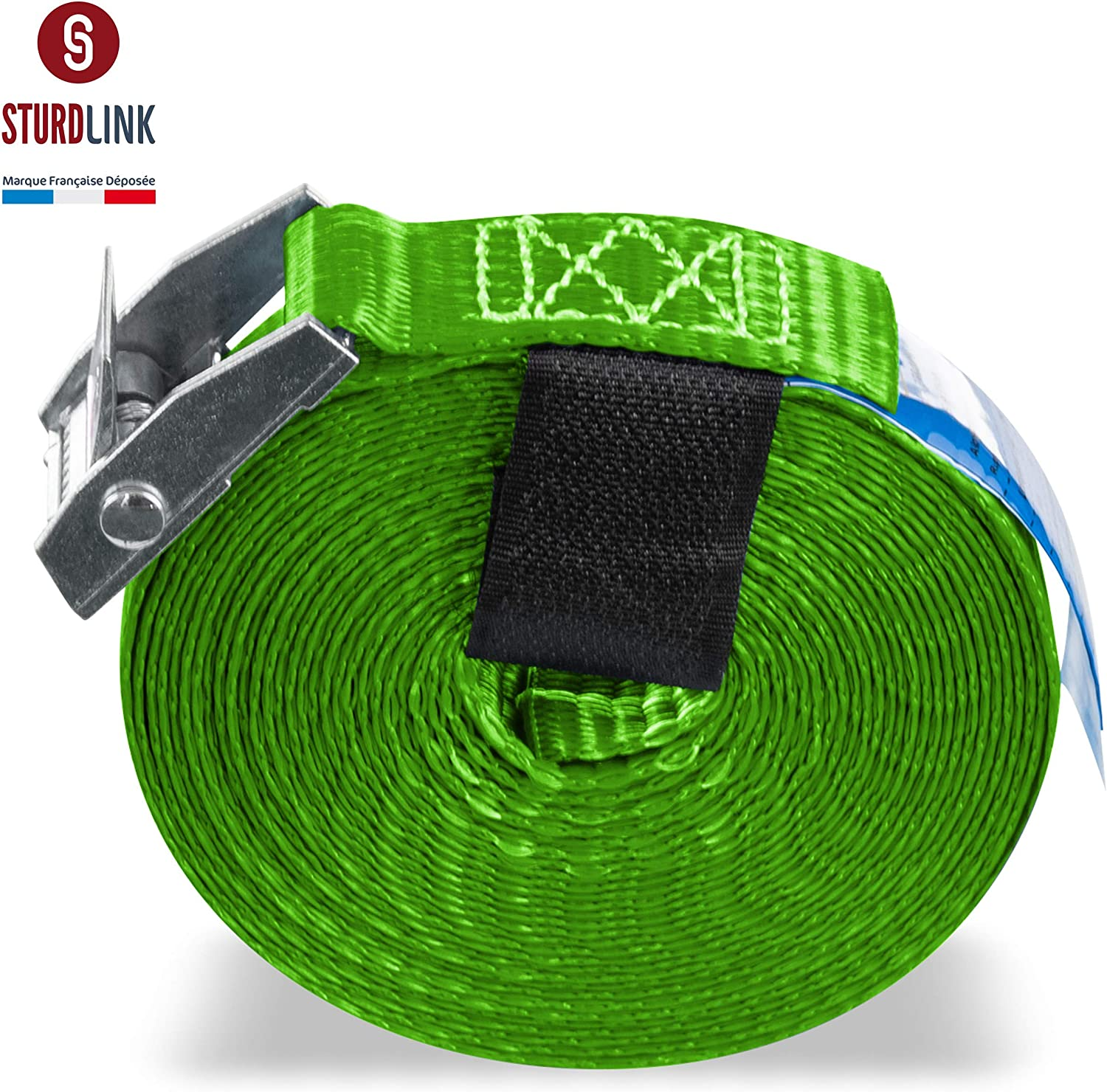 luggage Bag for Fixing and Tightening on Bike Rack Motorcycle Moving Trailer Trunk and Roof Bars Car Sturdlink Pack of 4 Lashing Straps 25mm 250kg With Tie Down Cam Buckle and Velcro 4m Green