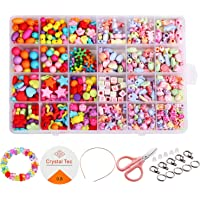 Beautyshow 680 Pcs DIY Beads Set, Craft Beads Kids Colorful Diy Beads Toy Acrylic Handmade Beaded for DIY Necklaces…