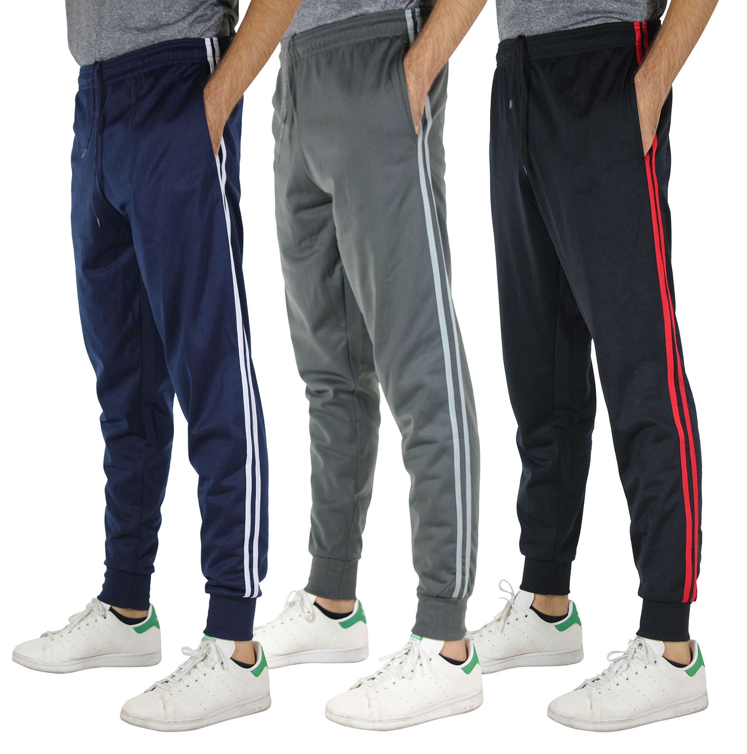 20d94661351e2 Real Essentials 3 Pack Men s Tricot Casual Active Track Soccer Jogger  Sweatpants Fleece Slim Fit