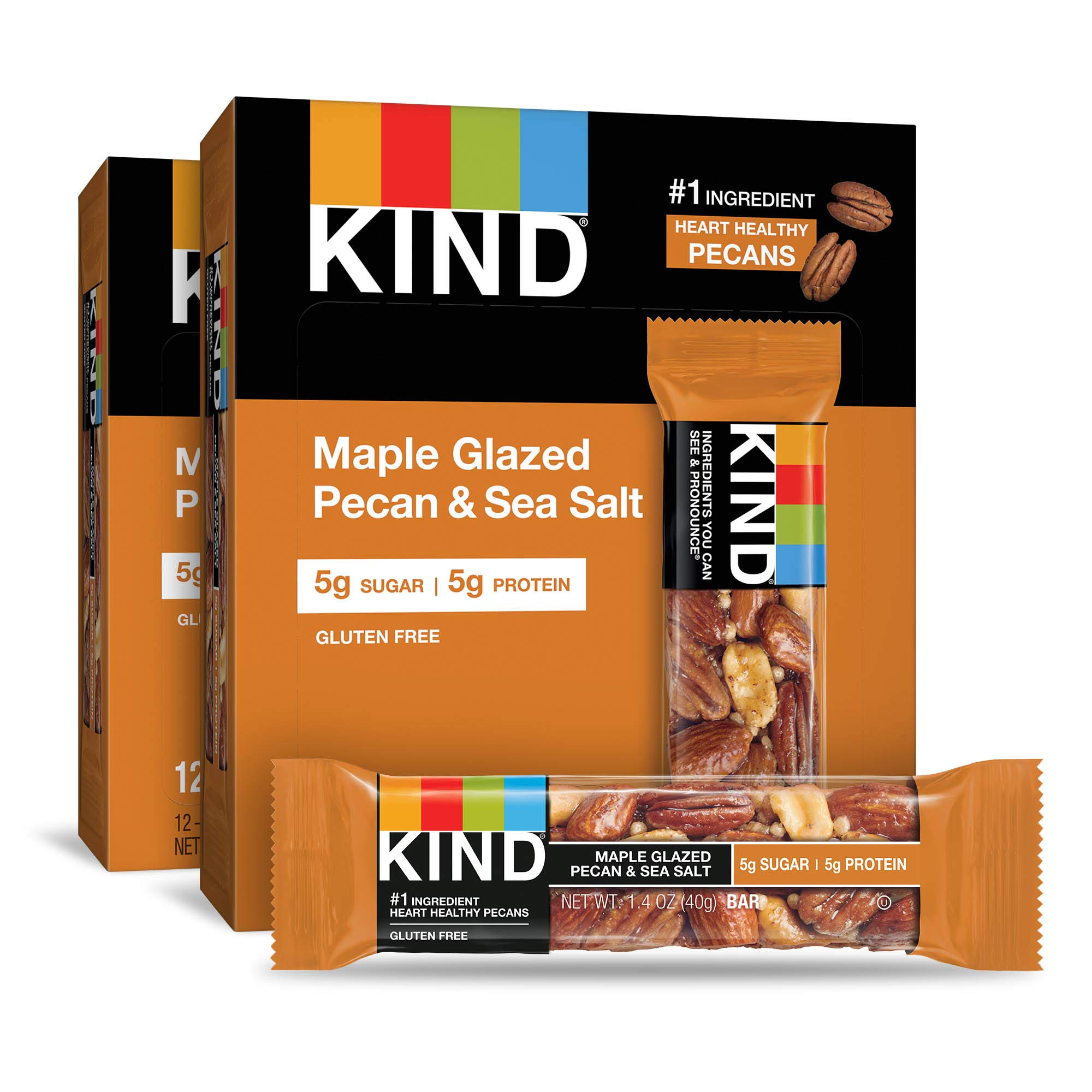 KIND Bars, Maple Glazed Pecan and Sea Salt, Gluten Free, Low Sugar, 1.4 Ounce Bars, 24 Count by KIND