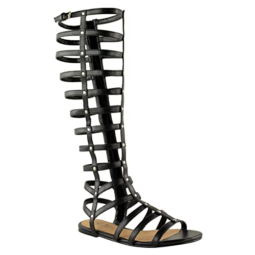 a0c79ff2c Amazon.com | Fashion Thirsty Womens Cut Out Gladiator Sandals Flat Knee  Boots Strappy Size | Sandals
