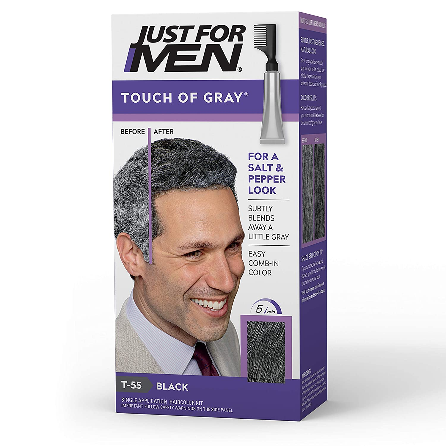 Amazon Com Just For Men Touch Of Grey Men S Hair Color Black 011509041388 Chemical Hair Dyes Beauty