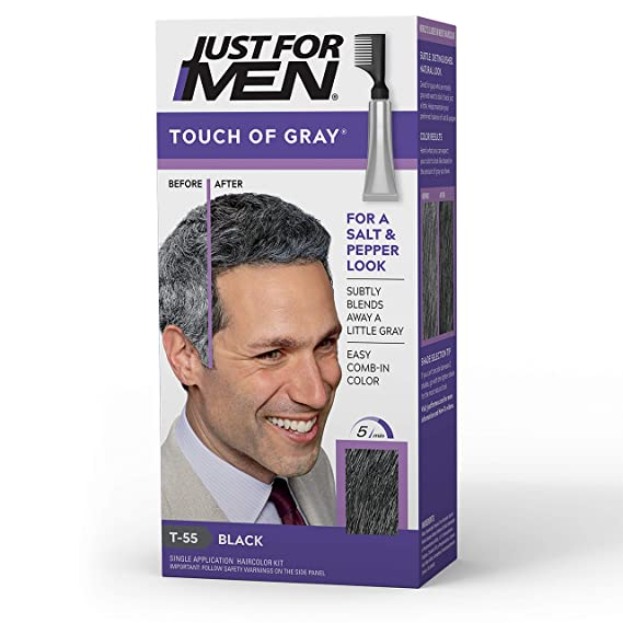 Amazon Com Just For Men Touch Of Gray Gray Hair Coloring For Men With Comb Applicator Great For A Salt And Pepper Look Black T 55 Packaging May Vary Chemical Hair