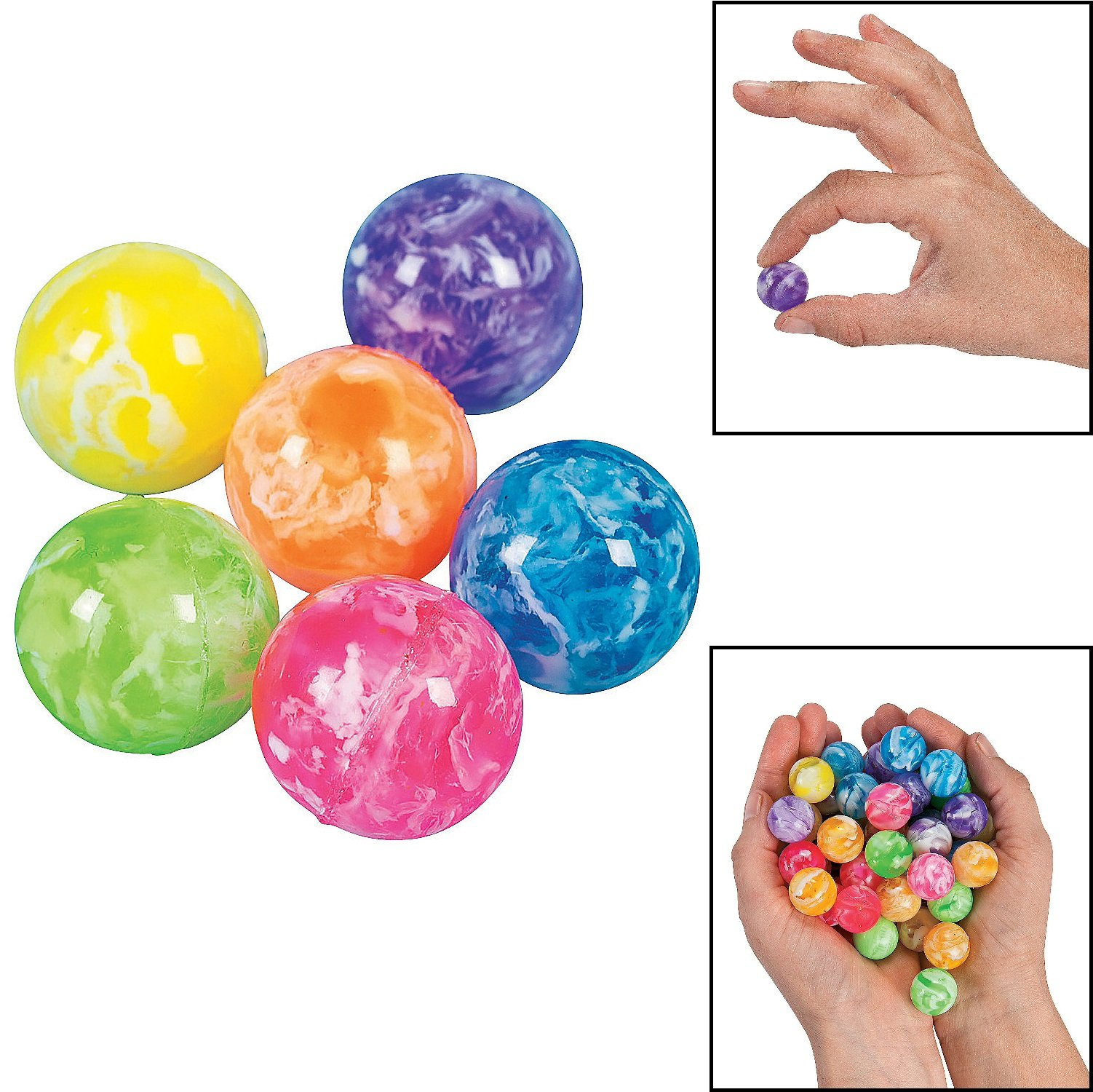 Fun Express Mini Neon Swirl Bouncing Balls - 48 Pieces