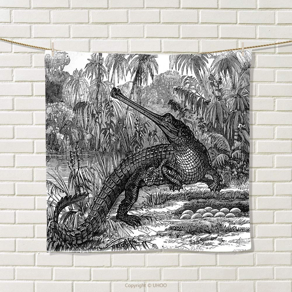 smallbeefly Vintage Hand Towel Old Fashion Sketch of A Crocodile in Forest Wildlife Nature Woods Fossil Picture Quick-Dry Towels Charcoal Grey Size: W 20'' x L 38''