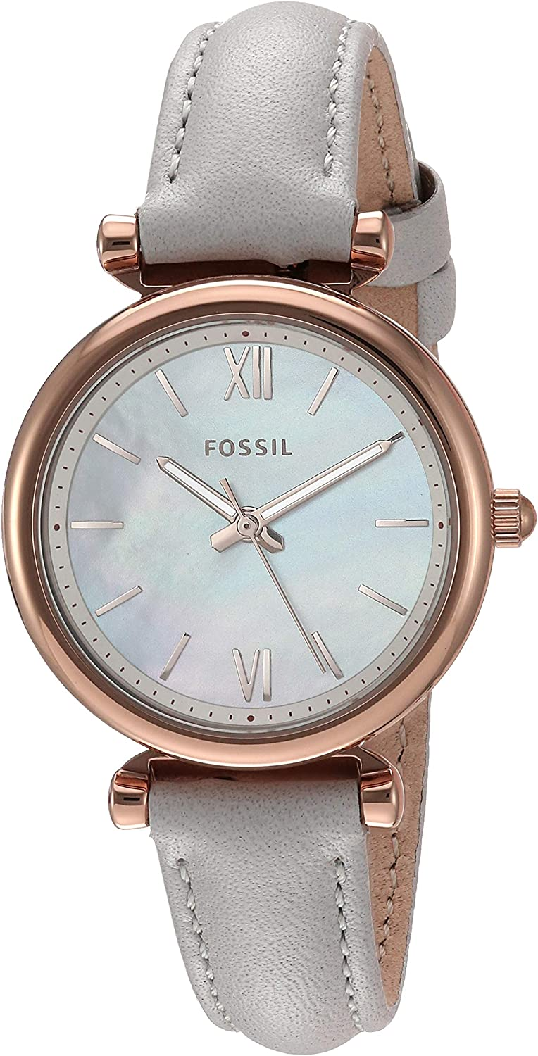 Fossil Women's Carlie Mini Stainless Steel and Leather Quartz Watch