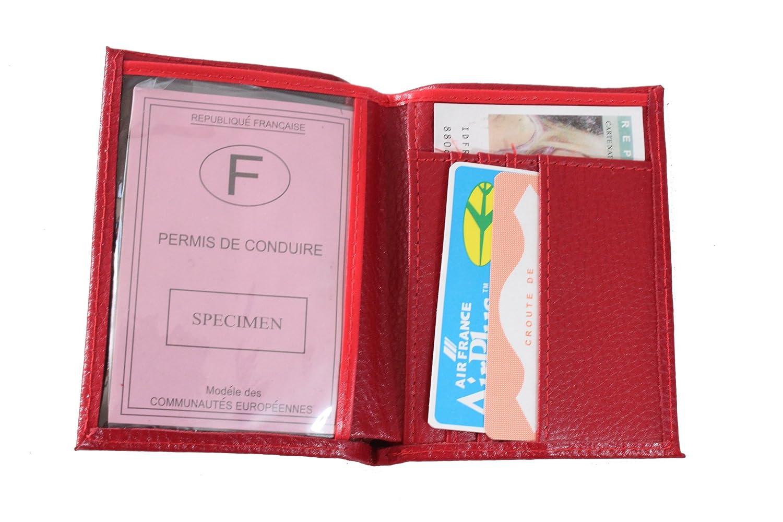 Lilosac® - Petit porte papier permis et cartes en cuir (Rouge)