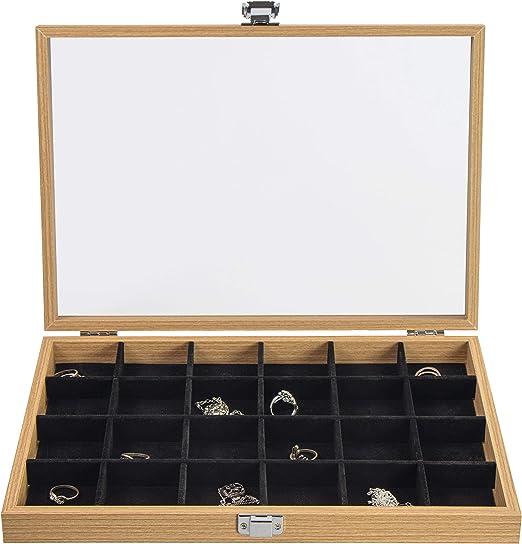 Caja para joyas de Laublust, imitación de madera, 24 ...