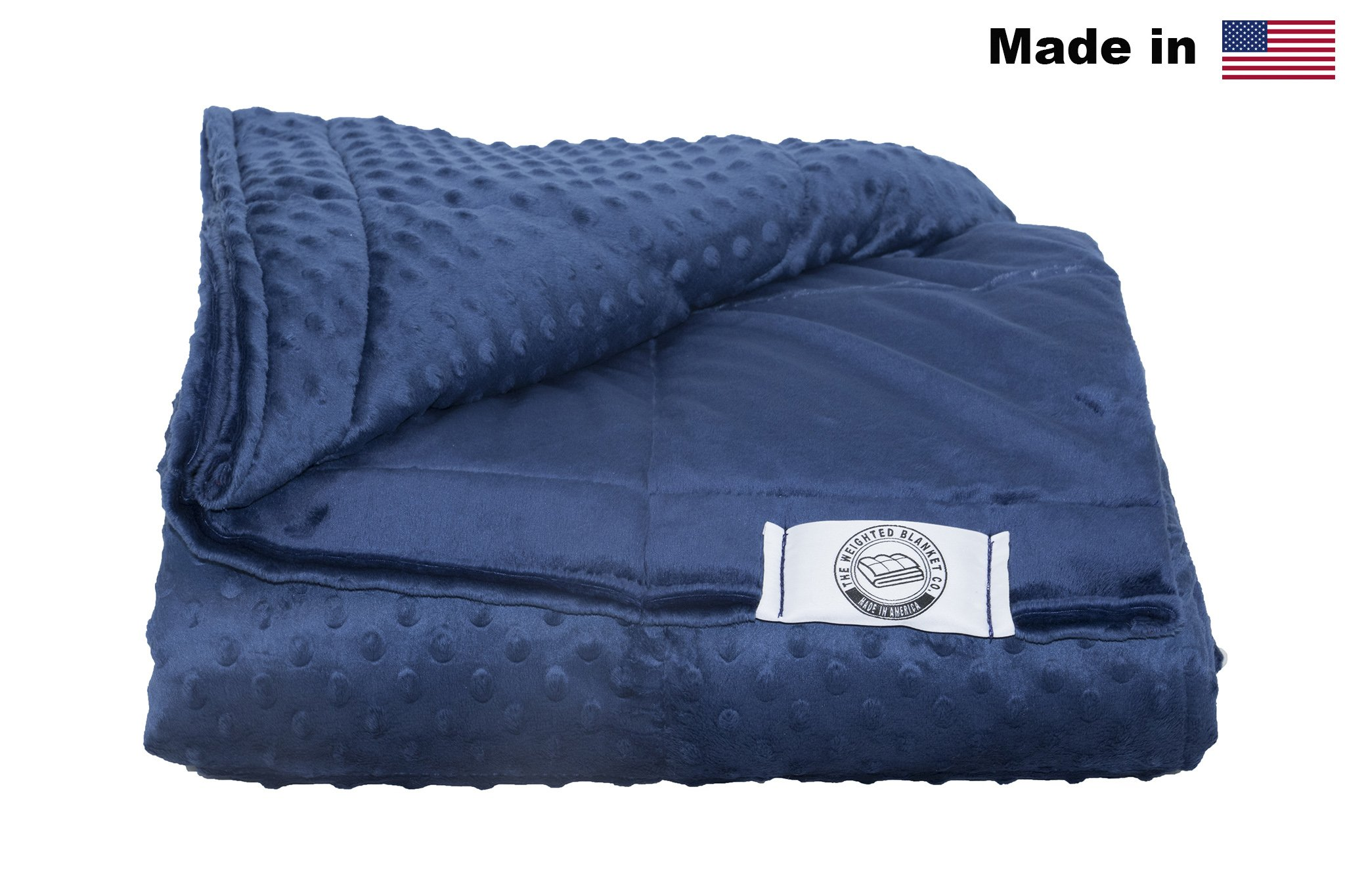 Luxury Minky Weighted Blanket -Made In America- Many Sizes & Colors (Navy, 13lb 48x80)