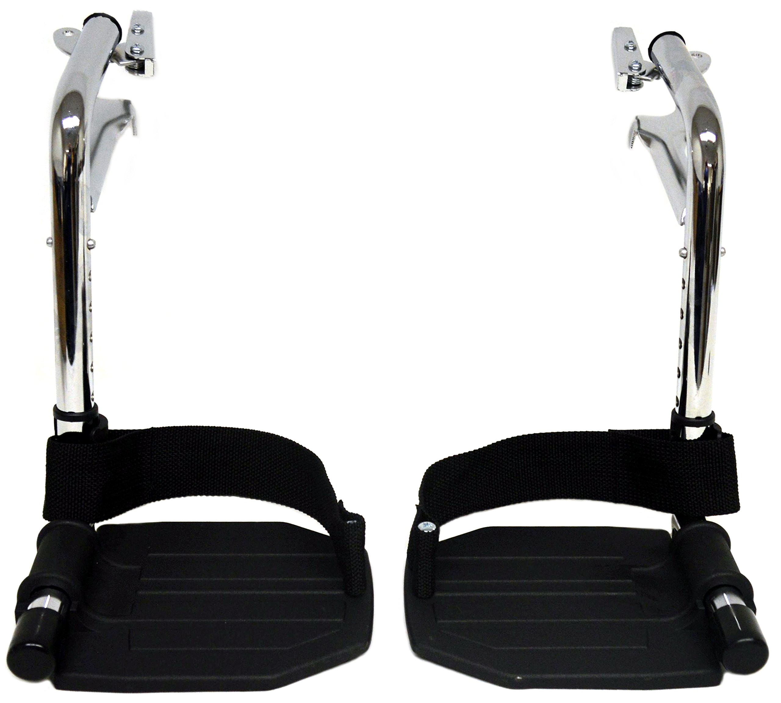 Heavy Duty Chrome Wheelchair Footrests with Black Aluminum Footplates & Heel Loops (Pair), 1-3/8'' Pin Spacing Fits Most Newer Medline, Drive, Invacare, E&J, ALCO & Other Manual Wheelchairs