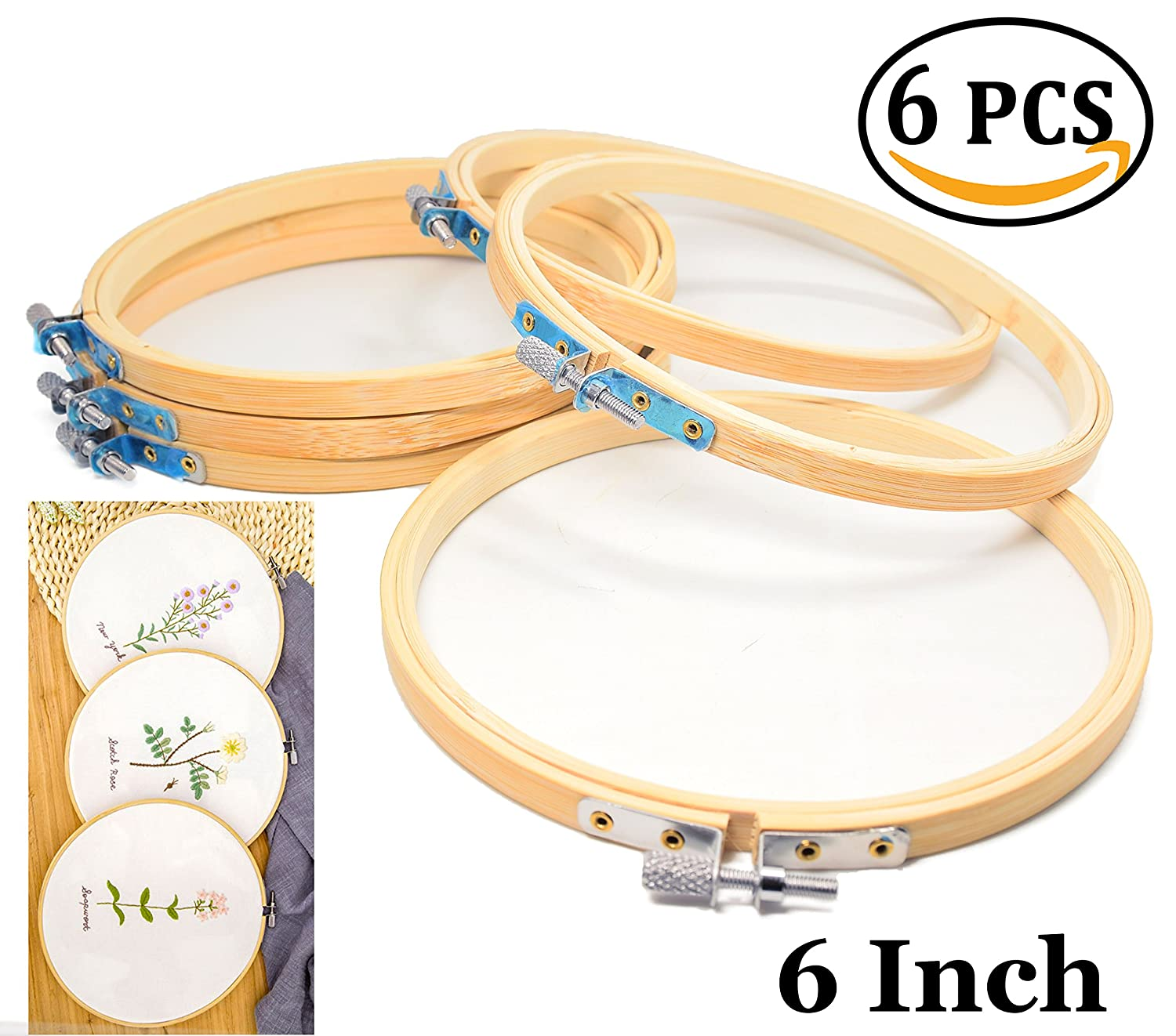Amazon.com: 6 inch Round Wooden Embroidery Hoops Bulk Wholesale ...
