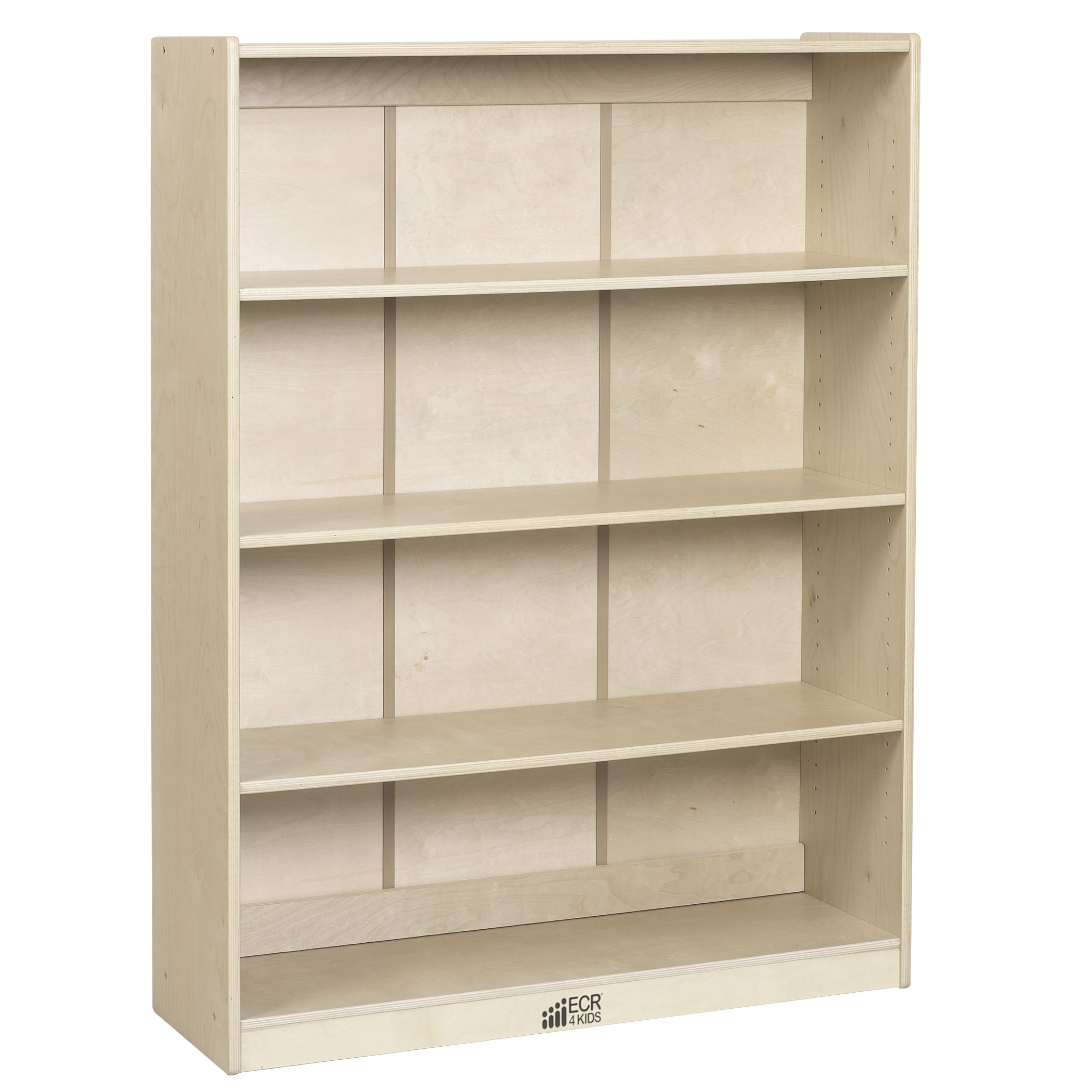 ECR4Kids Birch Hardwood School Bookcase, Adjustable Shelves, Natural, 48'' H