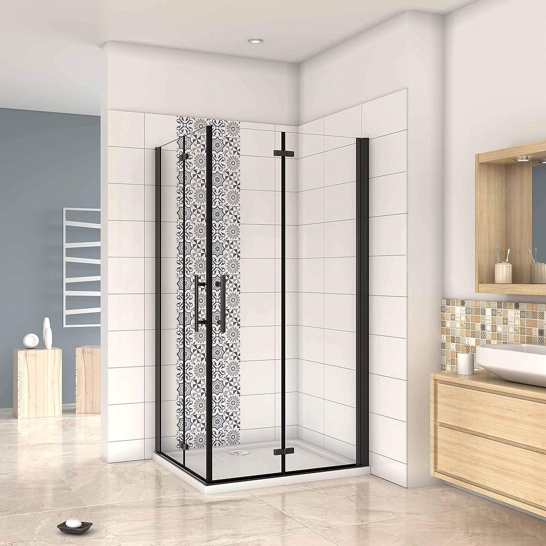 Mampara ducha Cabina de ducha 4 puertas plegables con perfil negro,estilo industrial, 5 mm cristal templado, Easyclean 90x70x190cm