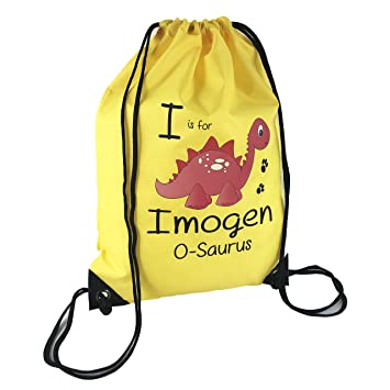 The Supreme Gift Company Personalised Kids RED Stegosaurus Dinosaur on a YELLOW  Drawstring Swimming ef9646716d38f