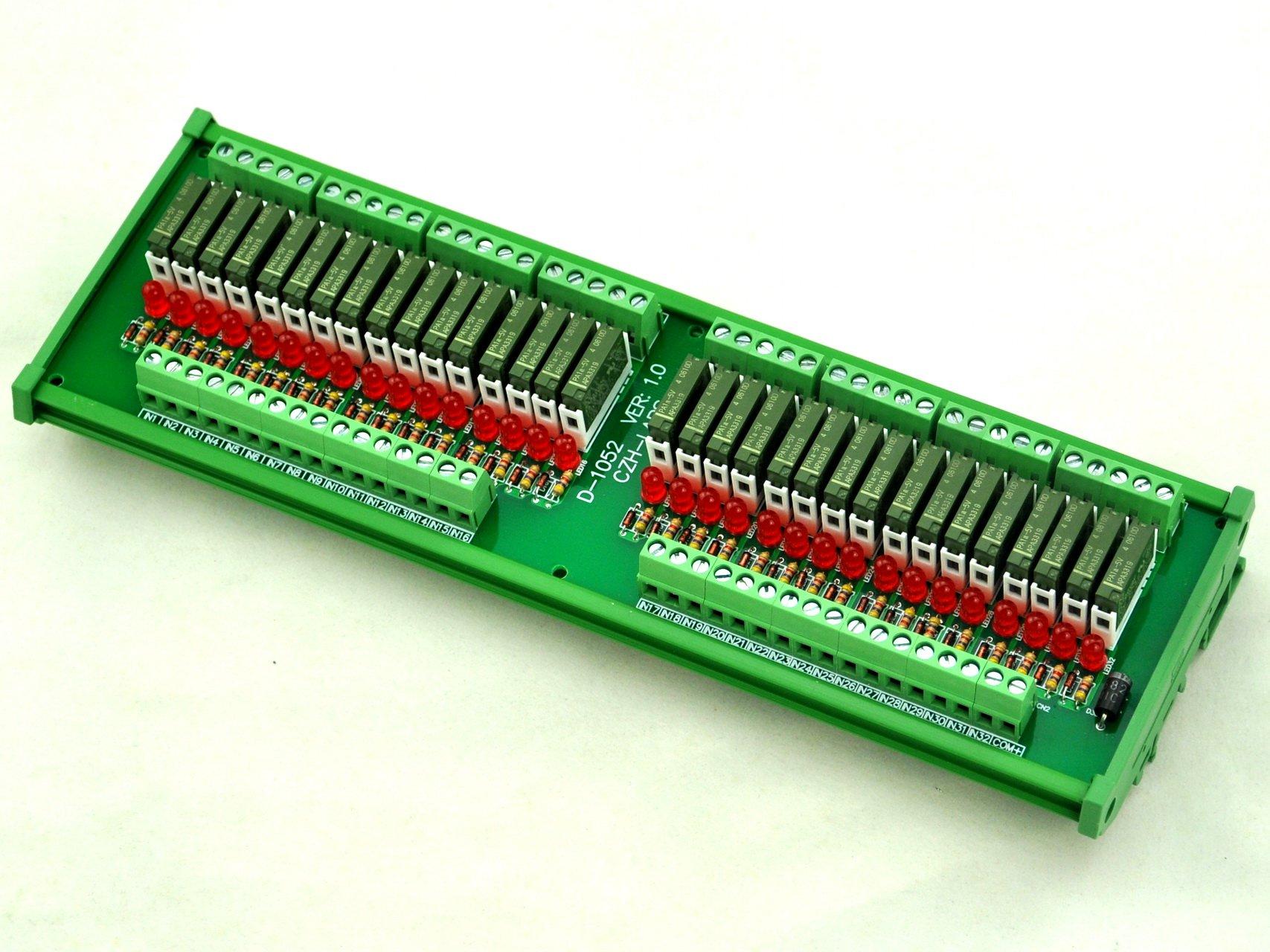 ELECTRONICS-SALON Slim DIN Rail Mount DC5V Sink/NPN 32 SPST-NO 5A Power Relay Module, PA1a-5V