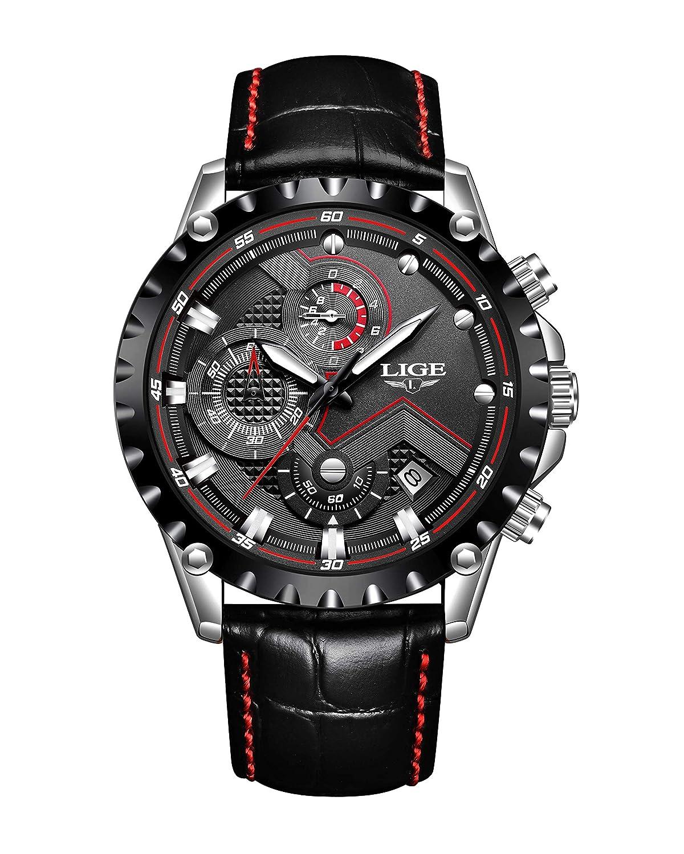 Relojes para Hombre,LIGE Cronógrafo Impermeable Deportivo analógico de Cuarzo Reloj Fecha Moda Casual Relojes de Pulsera…