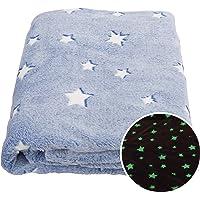 SOCHOW Glow in The Dark Throw Blanket 50 x 60 Inches, Stars Pattern Flannel FleeceBlanket, All Seasons Blue Blanket for Kids
