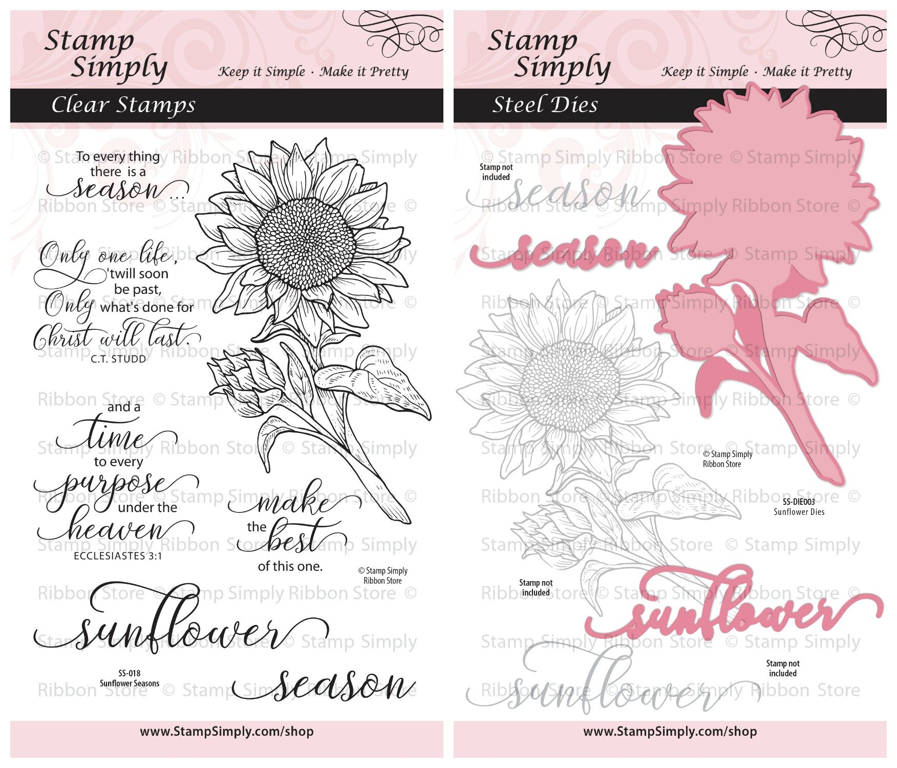 Stamp Simply Clear Stamps Sunflower Season Garden Flower and Die Christian Religious (2-Pack) 4x6 Inch Sheets - 10 Pieces