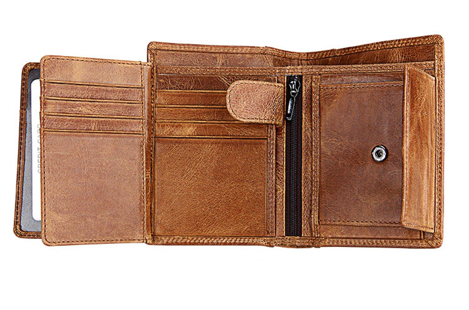 Gazigo RFID Blocking Wallet Genuine Leather Wallet for Men With 3 ID Window (RFID Blocking Wallet Brown127)