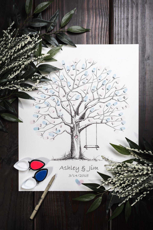 Fingerprint Tree custom wedding guestbook - Original thumbprint guest book alternative (Medium Size Ink) includes 2 ink pads!!