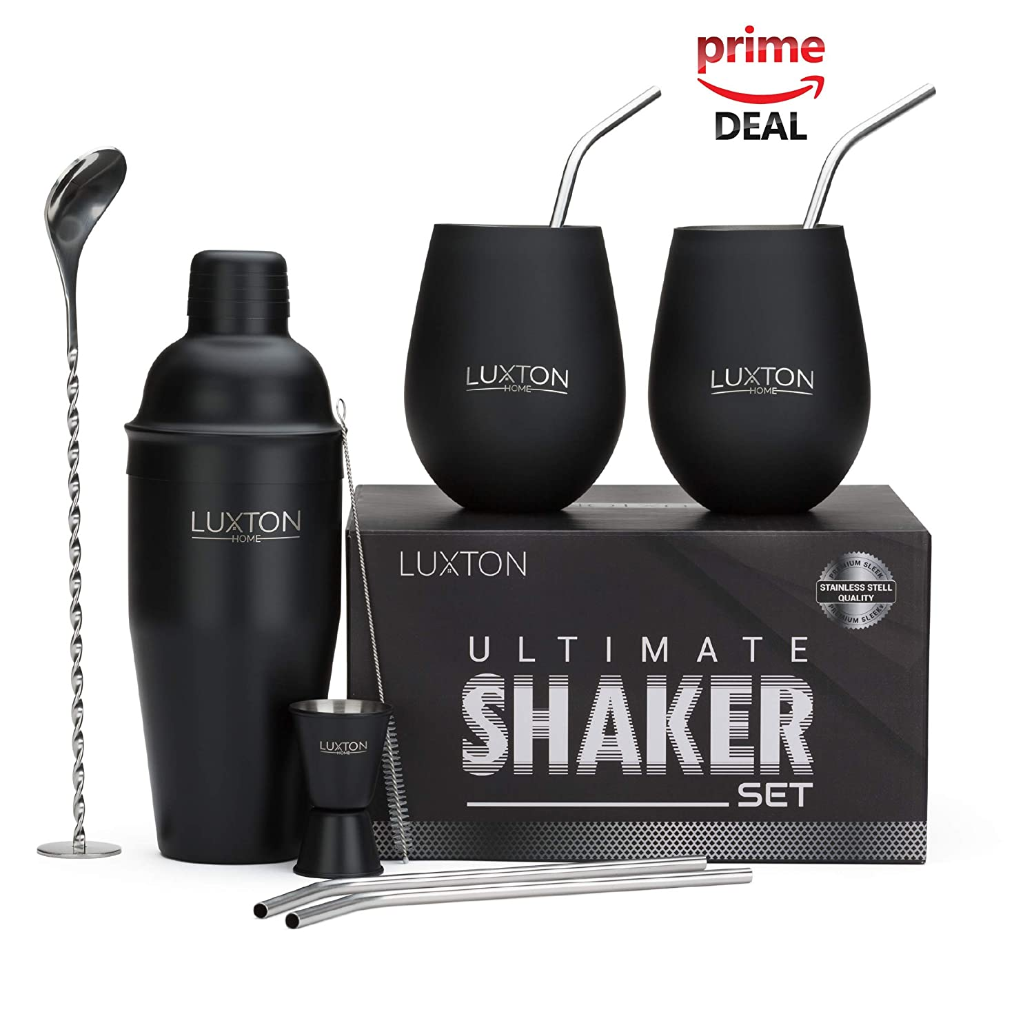 Luxton Home Ultimate Cocktail Shaker Set Matte Black - Plus 2 Cups & 4 Straws