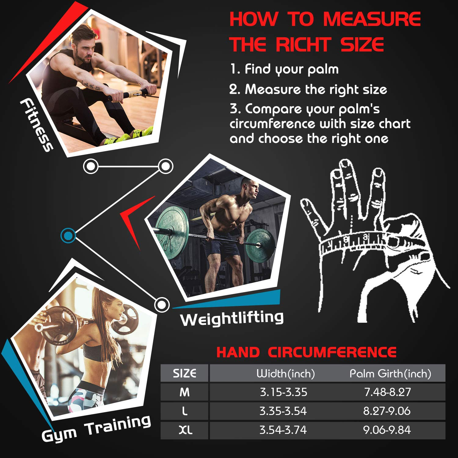 Weight Lifting Workout Exercise Wrist Support Protection Gloves Compatible for Weight Training Deadlifts and Bench Press Tsuinz Gym Fitness Gloves for Men and Women Pull Ups
