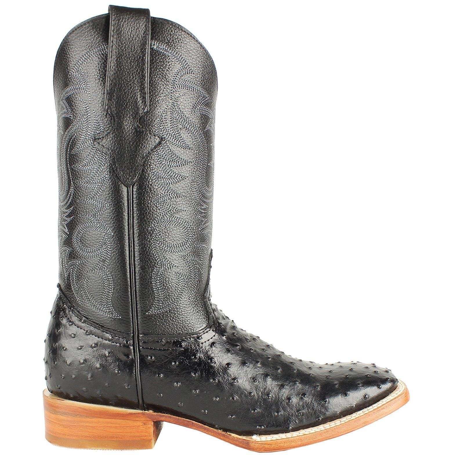 Men Genuine Cowhide Leather Ostrich Print Square Toe Western Boots_Black_10 by Dona Michi (Image #2)