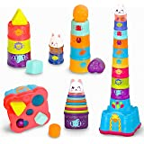 KIMI HOUSE Stack Up Cup Toys, Early Development Toys, Stacking, Nesting, Sorting Cups and Rattle Shaker for Infants, Toddlers