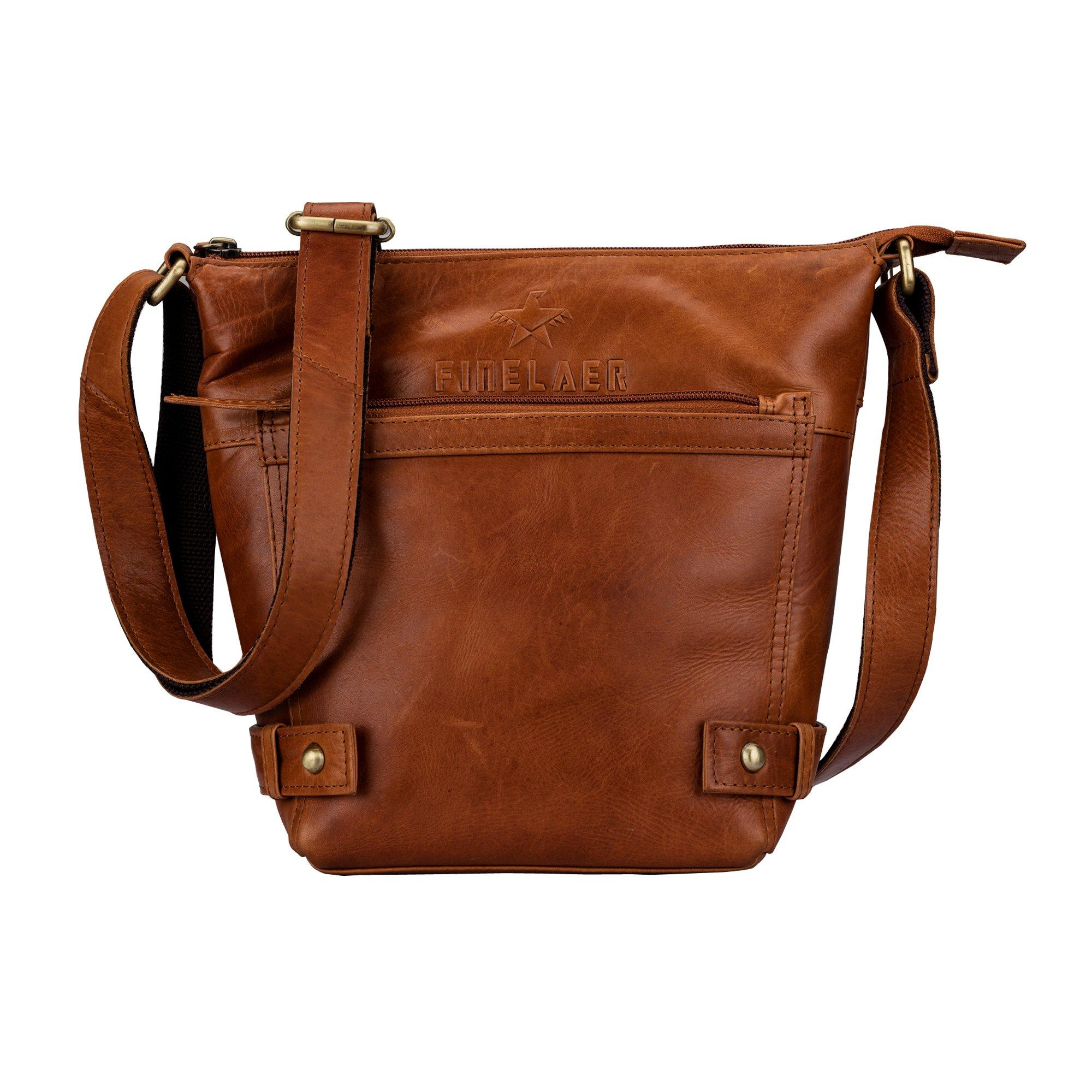 Women Vintage Leather Saddle Crossbody Bag Brown | Finelaer
