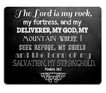 Wknoon Mouse Pad Inspirational Quotes Christian Bible Verse Scripture  Psalms 18:2, The Lord is My Rock Quote Mouse Pads