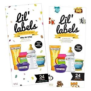Lil Labels Bottle Labels, Self-Laminating, Waterproof Baby Bottle Label for Daycare (Variety Pack, Set of 2)