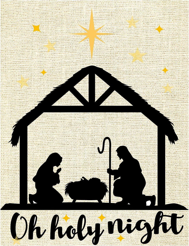 Wamika Oh Holy Night Traditional Christmas Burlap Garden Flag 12