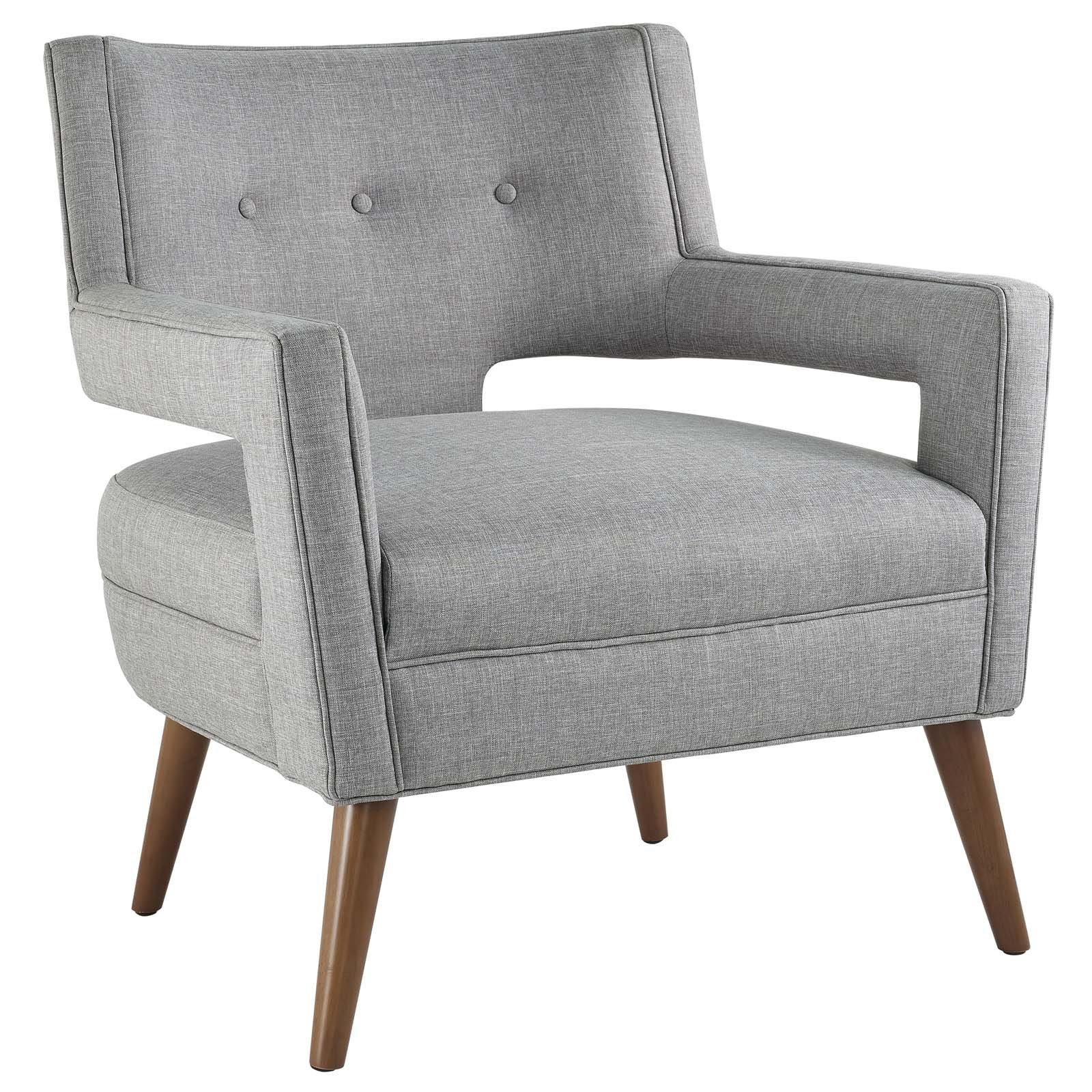 Modway EEI-2142-LGR Sheer Armchair Upholstered Fabric, Full XL, Light Gray by Modway