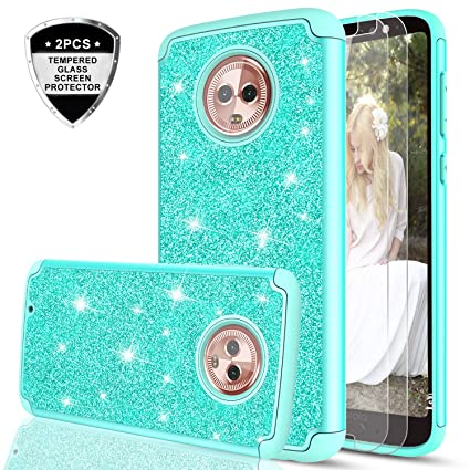 Moto G6 Glitter Case with Tempered Glass Screen Protector [2 Pack] for Girls Women,LeYi Sparkly Bling Dual Layer Hybrid Shockproof Protective Phone ...