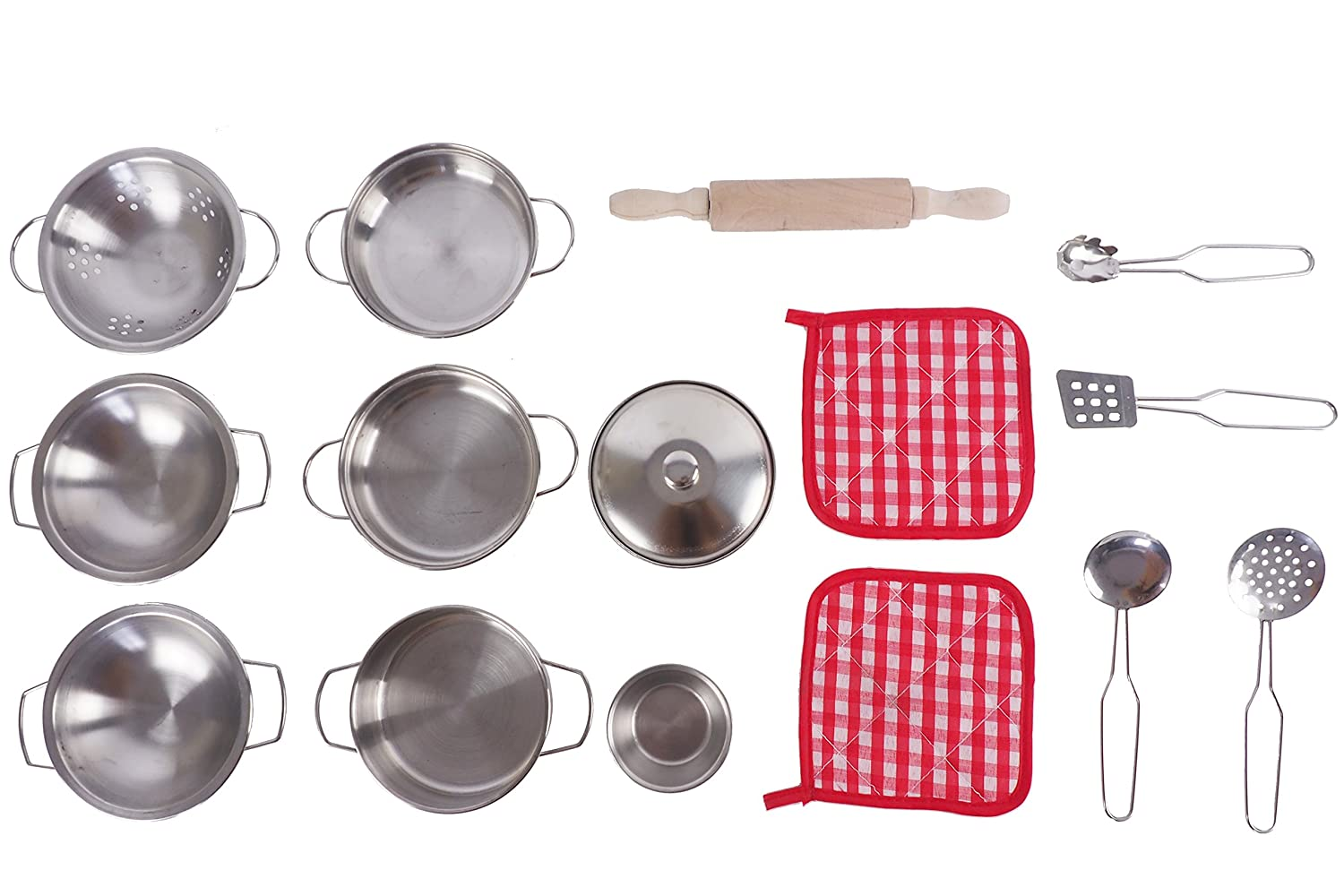 15 pieces Pretend toys Little chef Stainless,Kitchen Pretend Toys Stainless with Stainless Steel Pots and Pans Cookware,Kitchen Toys Pretend Cooking Toy