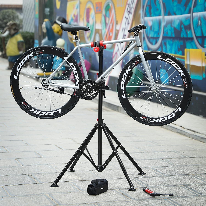 SONGMICS Soporte para reparación de bicicleta Caballete para bicicleta Bandeja de herramientas Altura ajustable entre 108 y 188 cm Soporte con 4 patas ...