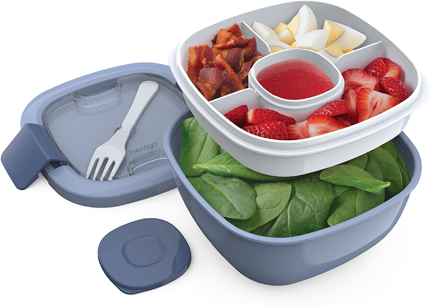 Bentgo Salad BPA-Free Lunch Container with Large 54-oz Bowl, 3-Compartment Bento-Style Tray for Salad Toppings and Snacks, 3-oz Sauce Container for Dressings, and Built-In Reusable Fork (Slate)