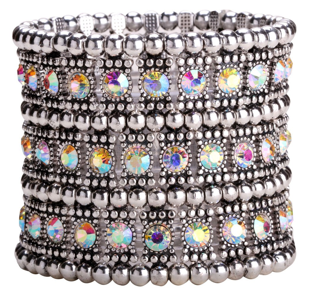 YACQ Jewelry Women's Multilayer Crystal Stretch Bracelet Ring Set A04011-C3