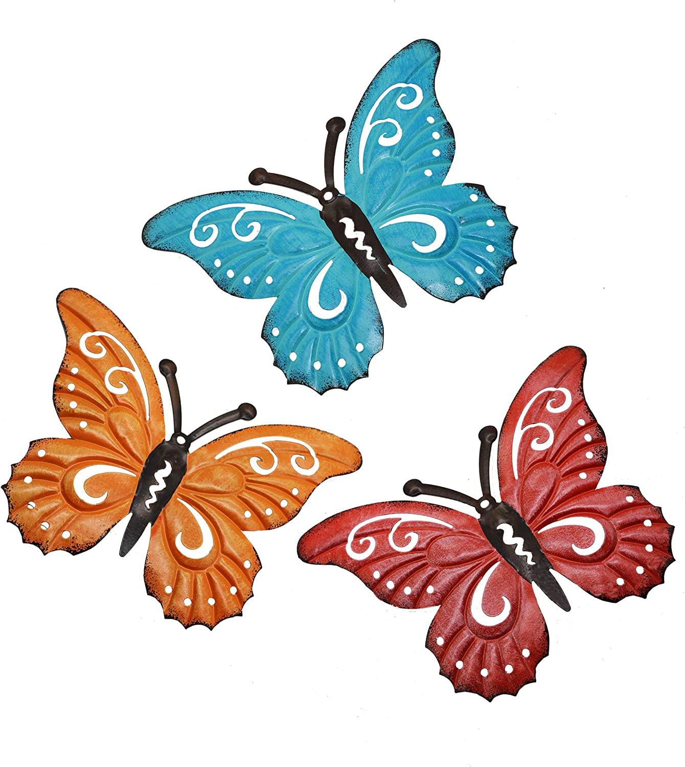 VOTENVO Metal Butterfly Wall Decor, Set of 3 Hand-Painted Sculpted Wall Art Product, 3D Butterfly Wall Decor Hanging for Indoor Outdoor Home Bedroom Living Room Office Garden