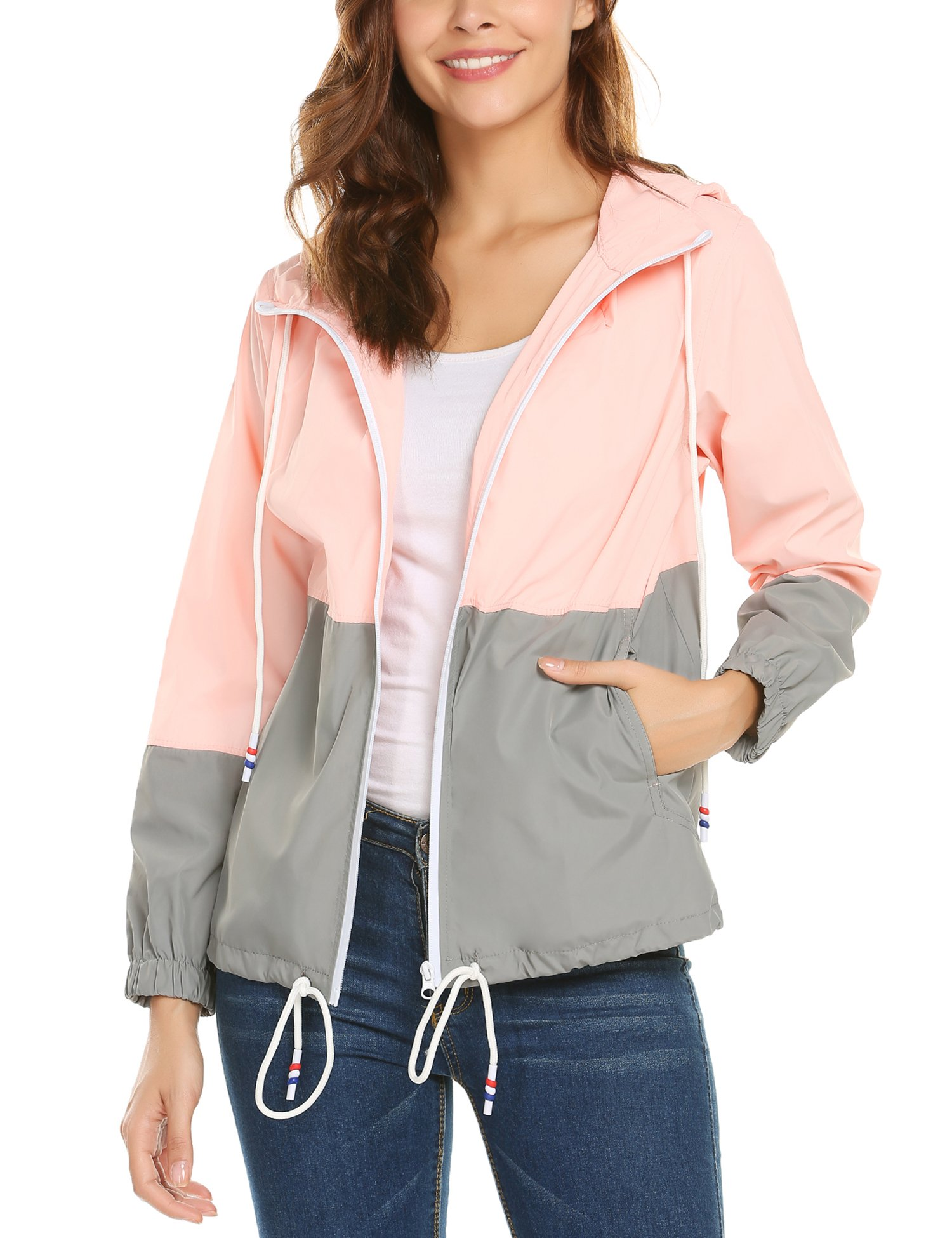 ZHENWEI Women's Lightweight Raincoat Zip up Casual Hoodie Rain Jacket Pink L by ZHENWEI (Image #4)