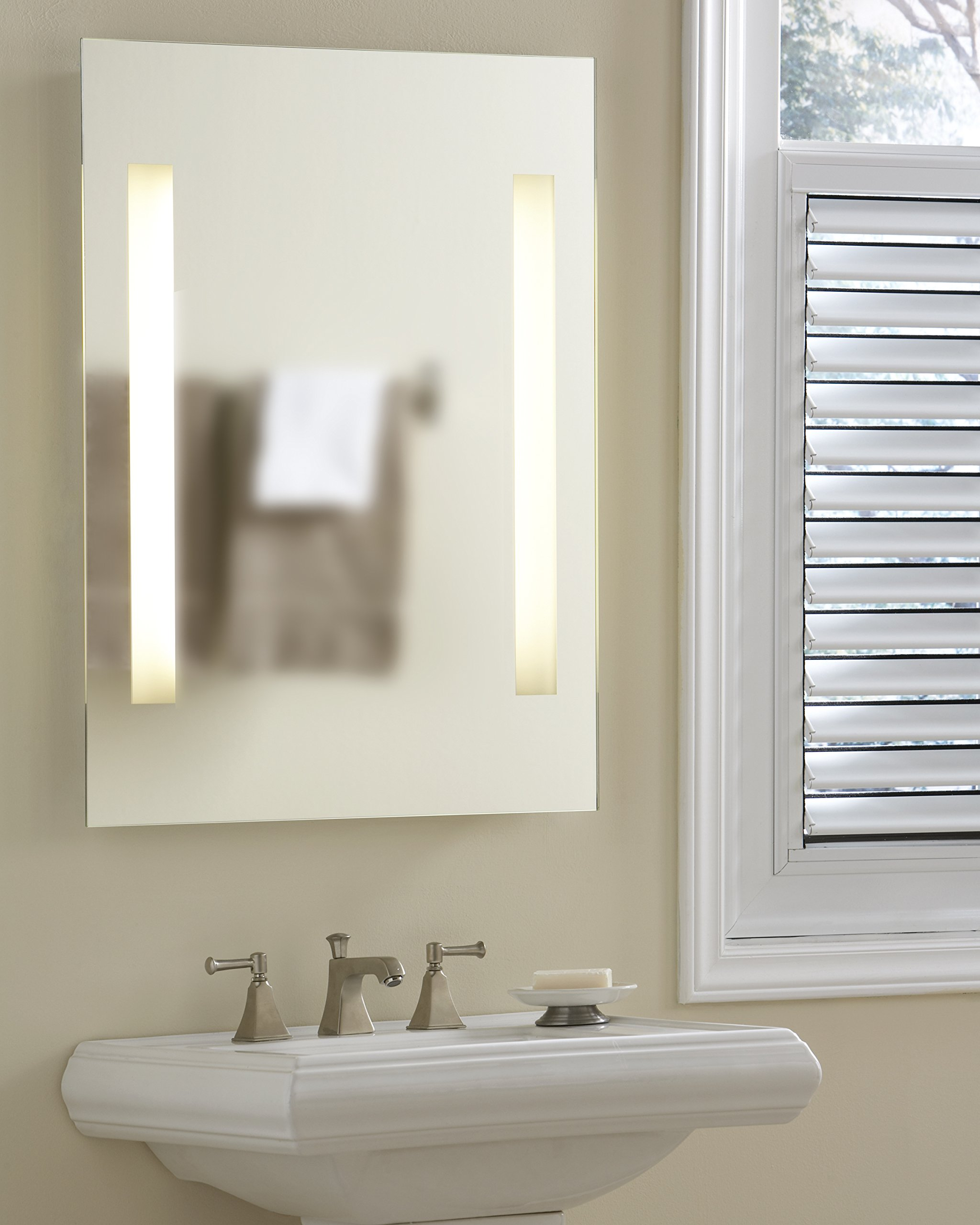 Meek Mirrors Frameless Backlit LED Lighted Mirror, 2 Strip Design with On/Off Switch (AMZL1011), 24'' W x 36'' L