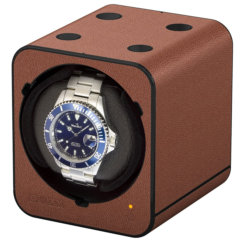 Boxy Fancy Brick Uhrenbeweger - Farbe Braun - Lederoptik - MODULARES SYSTEM mit Power Sharing Technologie - Programmierbar -