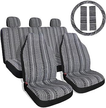 Striped Colorful Sitz Cover Baja blau Satteldecke Weave Universal Eimer Sitz mit G/ürtelabdeckung Set