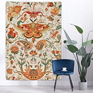 Lyacmy Moth Tapestry Insect Floral Tapestry Vintage Flower Vines Tapestries Biology Tapestry Wall Hanging for Room (59.1 x 82.7 inches)