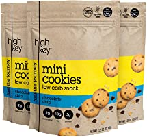 HighKey Snacks Keto Mini Cookies – Chocolate Chip, Pack of 3, 2.25oz Bags – Keto Friendly, Gluten Free, Low Carb,...