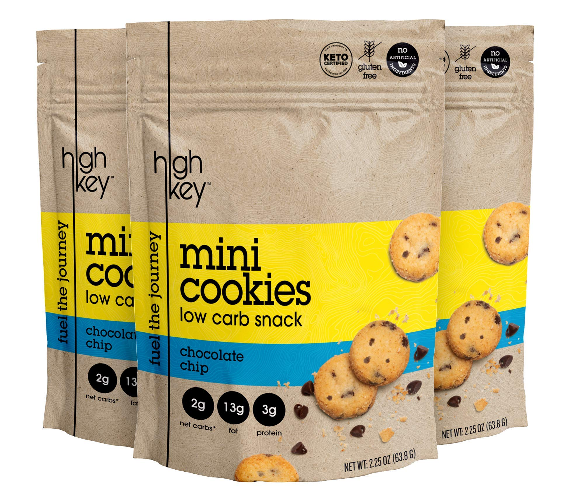 HighKey Snacks Keto Mini Cookies - Chocolate Chip, Pack of 3, 2.25oz Bags - Keto Friendly, Gluten Free, Low Carb, Healthy Snack - Sweet, Diet Friendly Dessert - Ketogenic Food with Natural Ingredients by HIGHKEY SNACKS