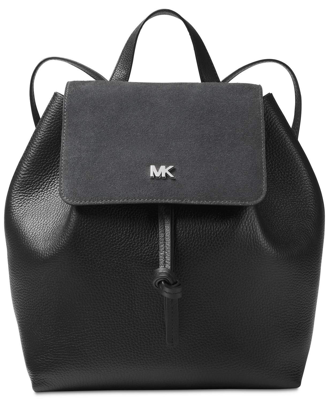 Michael Kors Junie Suede Flap Backpack (Black) by Michael Kors
