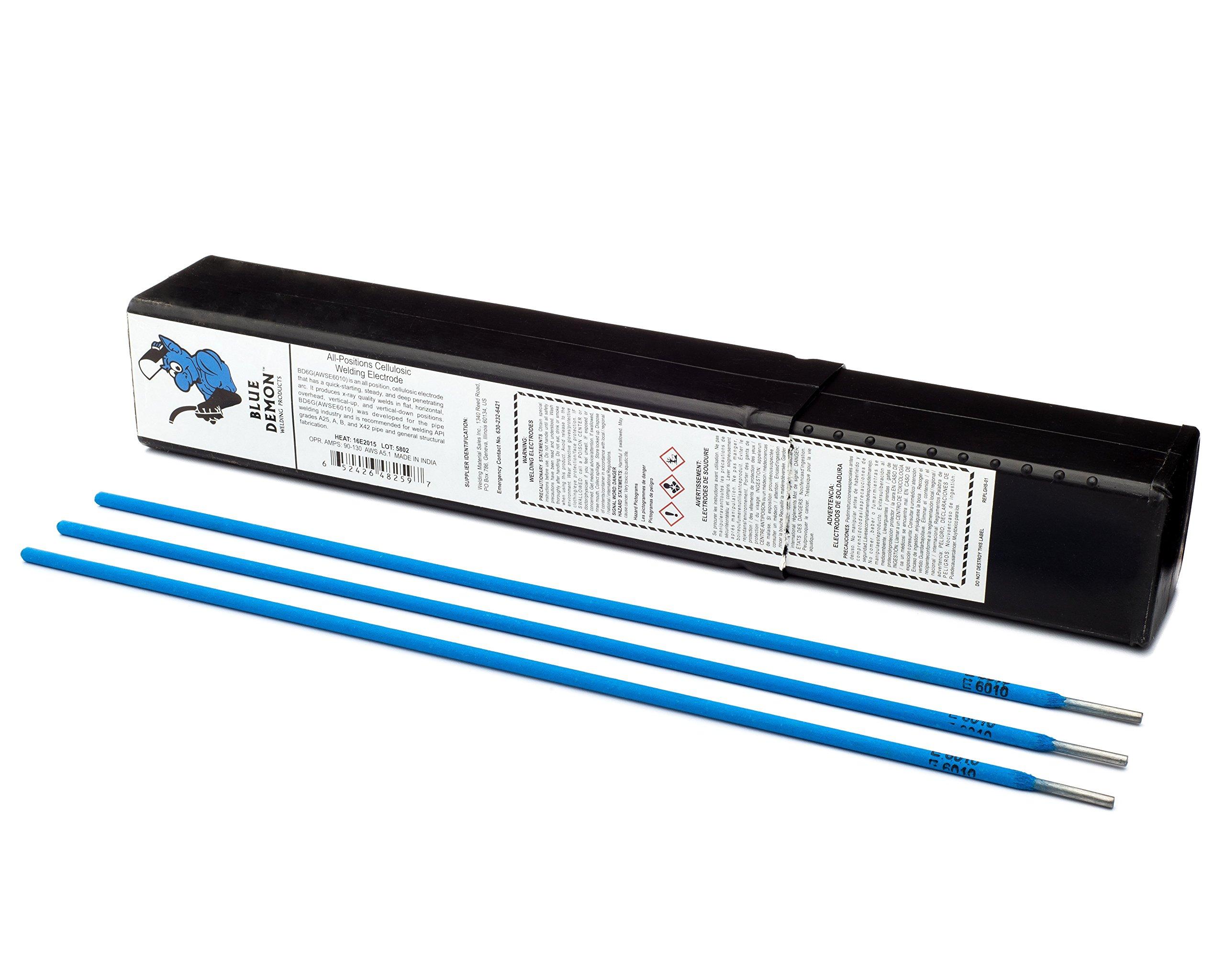 Blue Demon 6010 X 5/32'' X 14'' X 5LB Plastic Carbon Steel Pipe Welding Electrode