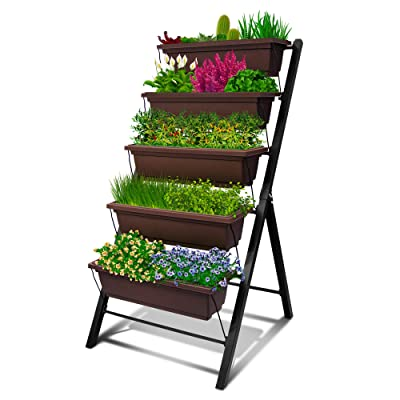 4Ft Vertical Raised Garden Bed - 5 Tier Food Safe Planter Box for Outdoor and Indoor Gardening Perfect to Grow Your Herb Vegetables Flowers on Your Patio Balcony Greenhouse Garden: Garden & Outdoor