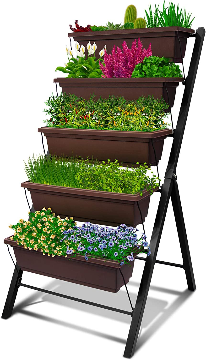 Amazon Com 4ft Vertical Raised Garden Bed 5 Tier Food Safe Planter Box For Outdoor And Indoor Gardening Perfect To Grow Your Herb Vegetables Flowers On Your Patio Balcony Greenhouse Garden Garden